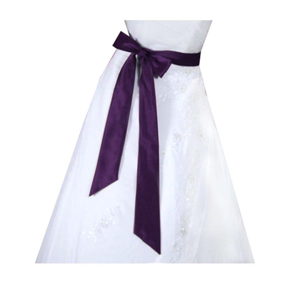 SACASUSA (TM) Bridal Wedding Sash Belt in 10 colors (Plum) by SACASUSA