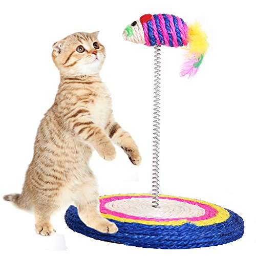 QBLEEV Cat Toy Scratch Board Feathers Spring Mouse Colored Funny Scratching Pad - Scratcher with Spring Post Fish Naturals Handmade Color Varies