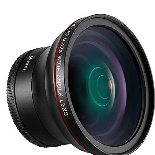 Neewer 55mm 0.43x Professional HD Wide Angle Lens with Macro Portion for D3400, D5600, Sony A33, A55, A57, A58, A65,A68, A77, A77II, A99, A99II, A390, A58,A100, A900, A850, A700, A500 DSLR Cameras