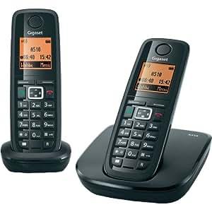 Siemens Gigaset SIA510DUO - Teléfono fijo inalámbrico (Capacidad guía telefónica 150, manos libres, función despertador inalámbrico, autonomía en conversación 20 hr), Negro