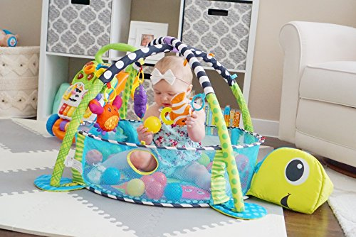 Paradise Treasures 3 in 1 Baby Play Mat with Balls-Plush Turtle Activity Gym and Ball Pit ()
