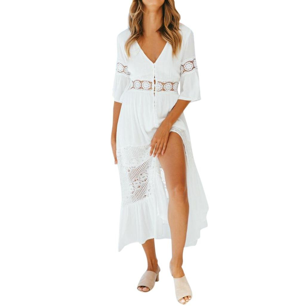 TIFENNY Women's Tops 3/4 Flare Sleeve Solid V-Neck Lace Patchwork Hollow out Button Split Maxi Long Casual Dress (M, White)
