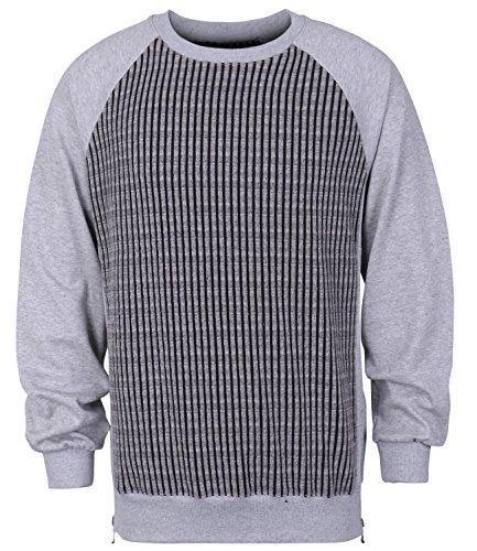 ililily 2 Tone Striped Ribbed Knit Zip Trim Raglan Sleeves Pullover Sweatshirt , Light Grey, B