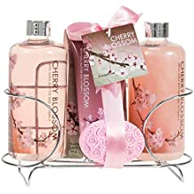Bath and Body Gift Set for Women by Freida and Joe in Cherry Blossom Fragrance, Relaxing Zen Experience of Spa at Home, Shower Gel, Bubble Bath, Body Lotion, Bath Salts, and Pink Flower Salt
