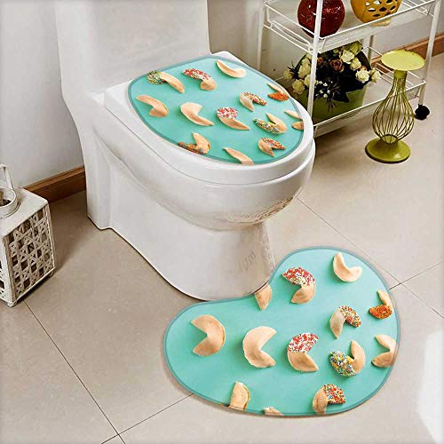 (Printsonne 2 Piece Bathroom Mat Set fortune cookies on color background Absorbent Cover)