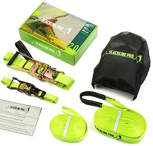 Slackline Kit: 52 Foot Classic Trickline Slackline Set with Training Line for Slackers of all Ages from Slackline Kids to Slack Line Adults