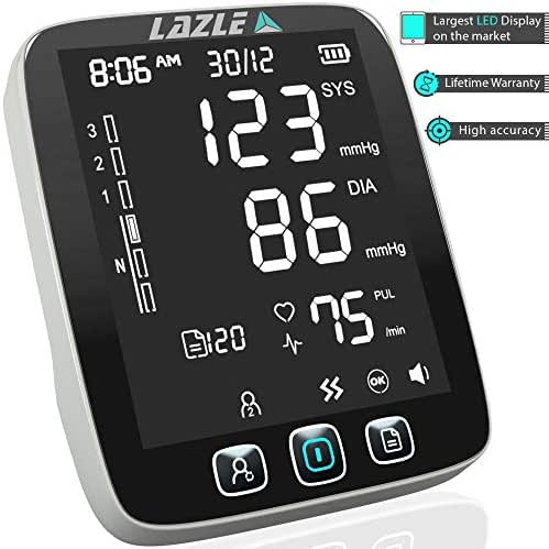 [All New 2019] Blood Pressure Monitor by LAZLE: Automatic Upper Arm Machine & Digital BP Cuff Kit - Largest Display - 200 Sets Memory, Includes Batteries, Carrying Case