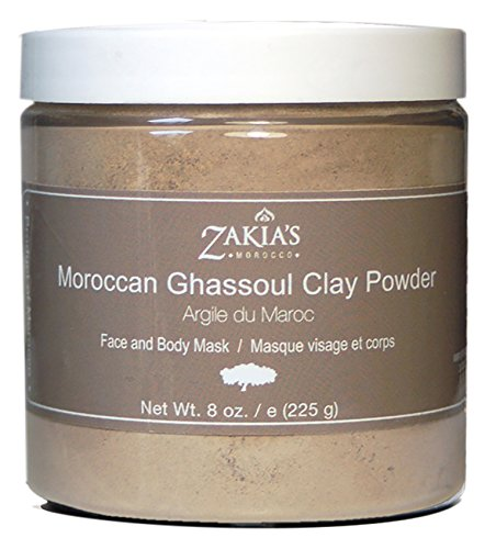 Moroccan Ghassoul Clay Mask - Organic Natural Facial Mask and Skin Care Treatment - Anti-aging Mud Mask Heals Dry & Oily Skin, Acne, Eczema & Psoriasis - 8 Oz