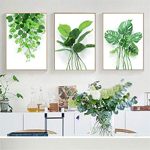 WSNDG Style Fresh Plant Canvas Painting Living Room Background Modern Minimalist Triple Decorative Painting Without Picture Frame B2 1520CM (no Frame)
