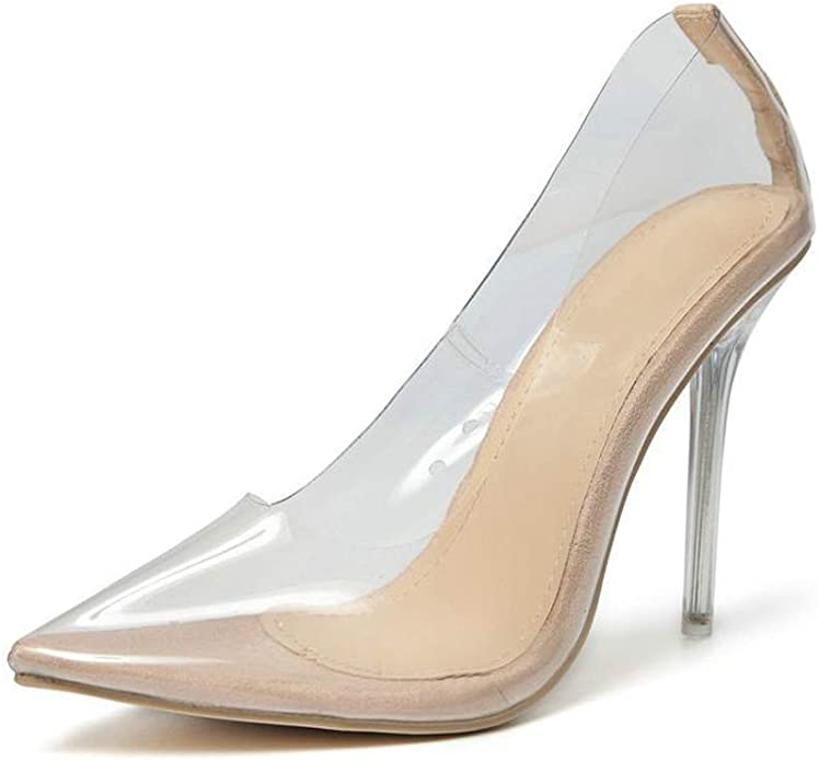 Womens New Pointy Toe Patent Leather Clear Pumps High Heels Dress Shoes Plus Sz