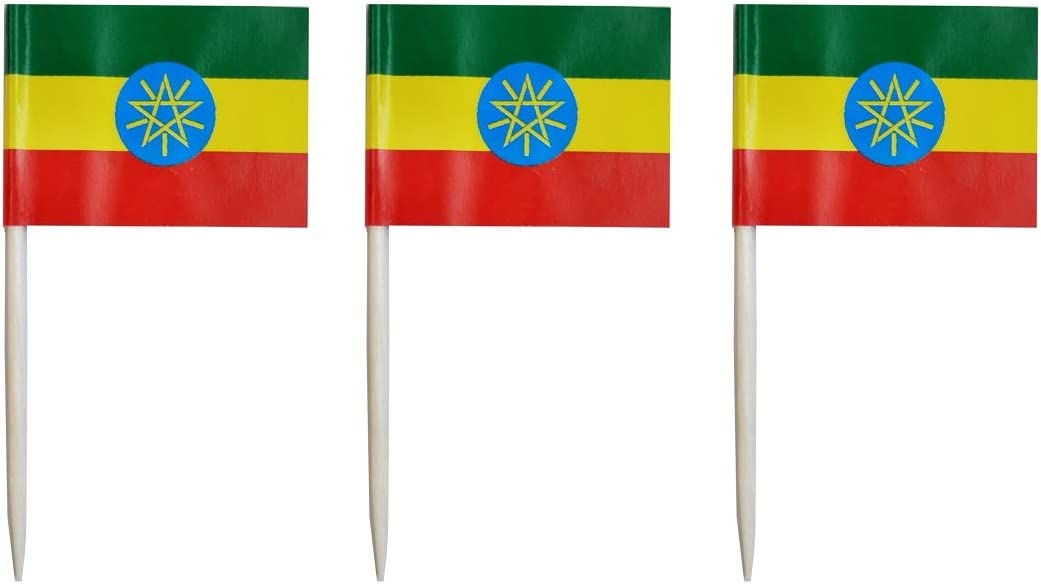 JAVD CYPS 100 Pcs Ethiopia Flag Ethiopian Toothpick Flags, Small Mini Stick Cupcake Toppers Ethiopian Flags,Country Picks Party Decoration Celebration Cocktail Food Bar Cake Flags