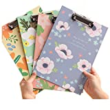 Cute Floral Flower A4 Paper File Clipboard Rounded Corners Drawing Writing Board Heavy Duty Clip Menu Board with Hanging Hole 4PCS