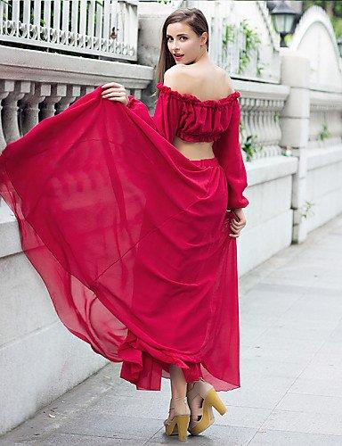 PU&PU Robe Aux femmes Deux Pièces Street Chic,Couleur Pleine Bateau Maxi Polyester , wine-s , wine-s