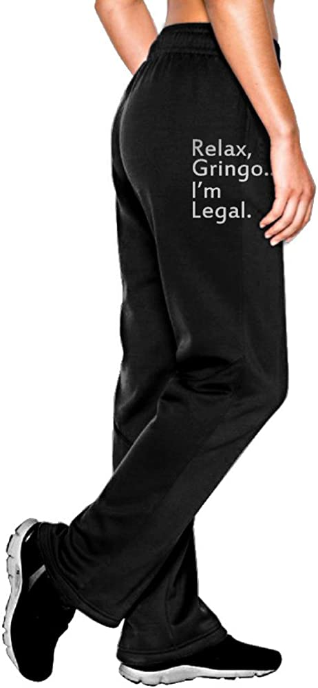 MEGGE Women's Relax, Gringo... I'm Legal - Funny Mexican, Latino, Spanish Immigrant Drawstring Jersey Pant Black