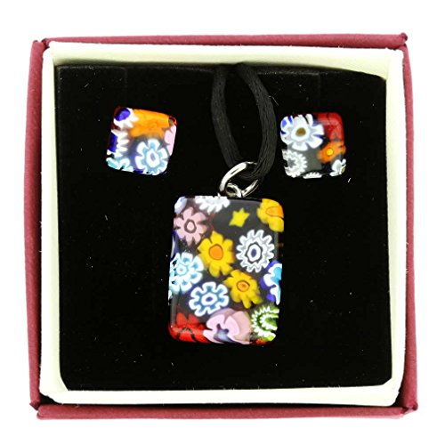 - GlassOfVenice Murano Glass Millefiori Necklace and Earrings Set - Rectangular