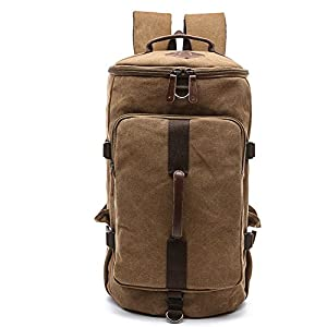 Heavy Duty Canvas Backpack, Yousu Vintage Large Canvas Backpack Travel Duffel Bags Classic School Bookbag for Men 3-In-1 (Coffee)