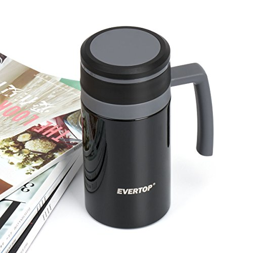 EVERTOP Double Wall 18/8 Stainless Steel Vacuum Insulated Mug with Lid Coffee Travel Mug with Comfortable Handle for Hot & Cold Drinks, Shatterproof Coffee Cups, 12.5 Oz, 450 ml