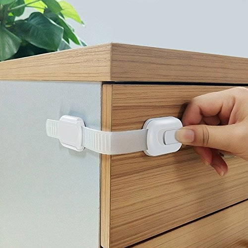Cabinet Locks Child Safety, 12 Pack Geekid Child Proof Cabinet Lock for Drawers, Appliances, Toilet Seat, Fridge and Oven,No Tools or Drilling Required, 3M Adhesive with Adjust