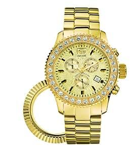 Marc Ecko E22531G1 - Reloj analógico de cuarzo para hombre, correa de acero inoxidable color dorado