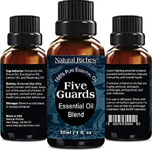 Five Guards Immunity Synergy Blend Health Shield Aromatherapy Essential Oils30ml Pure Therapeutic Grade Natural Germ Fighter Clove Cinnamon Lemon Rosemary Eucalyptus Oil Tales French Thieves (1 Pack)