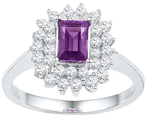 Jewel Tie Size - 5-10k White Gold Emerald Round Purple Simulated Amethyst And White Diamond Fashion Band OR Engagement Ring Prong Set Solitaire Shaped Halo Ring (3/5 cttw.)
