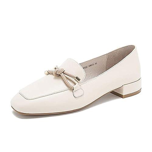 YXX-Zapatos para mujer Zapatos Mocasines de tacón bajo sin Cordones para Mujer, Zapatos Casuales Planos de Cuero de Vaca para Fiesta y Oficina, ...