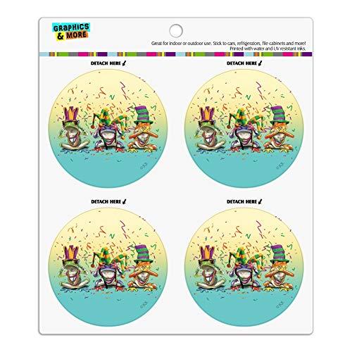Party Frogs Mardi Gras See No Evil Hear Speak Refrigerator Fridge Locker Vinyl Circle Magnet Set