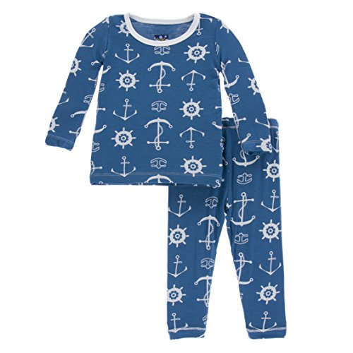 KicKee Pants Little Boys Print Long Sleeve Pajama Set, Twilight Anchor, Boys 5 Years