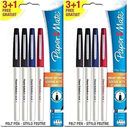 beau look magasiner pour le meilleur personnalisé Paper Mate Flair Felt Tip Pens, Fine Point, Business Colors, 8 Count