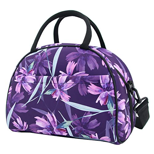 HIBALA Neoprene Stylish Tote Lunch Bag Thermal Lunch Box for Women Family Work Outdoor Travel Picnic-Keeping Food Cold/Warm-with Zipper and Shoulder Strap (Purple) ()
