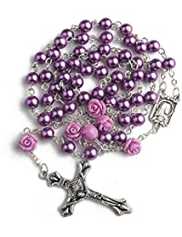 6mm Purple Color Pearl Beads Rosary with 6pcs Our Rose Our Facther Beads