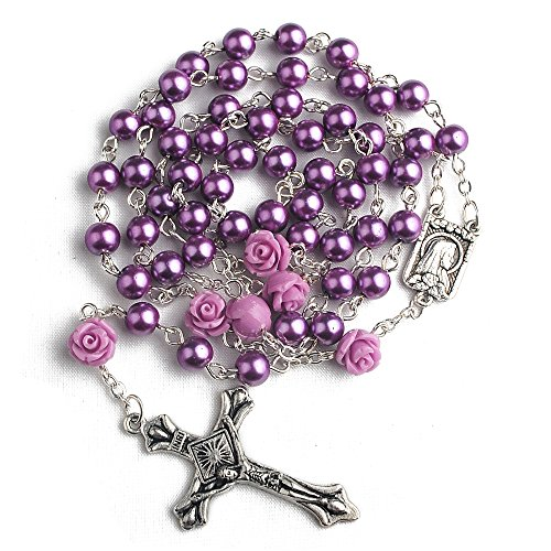 Coral Rose Pearl (Hedi 6mm Purple Color Pearl Beads Rosary with 6pcs Our Rose Our Facther Beads)