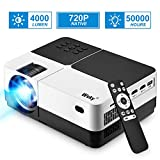 Projector, 1080P and 176'' Display Outdoor Video Projector Supported, 4000Lumen Portable HD Movie Projector with 50,000 Hrs LED Lamp Life, Compatible with TV Stick, PS4, HDMI, VGA, TF, AV and USB