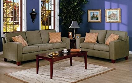 2pc Contemporary Style Olive Green Microfiber Sofa U0026 Loveseat Set