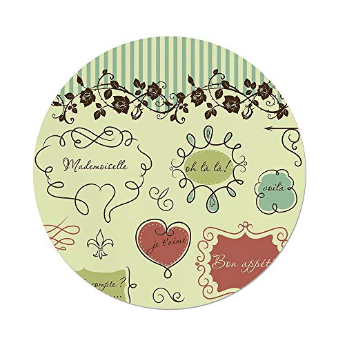 Polyester Round Tablecloth,Doodle,Vintage French Style Doodle Elegance Words Shabby Chic Classic Motif Decorative,Pale Green Chocolate Coral,Dining Room Kitchen Picnic Table Cloth Cover,for Outdoor I ()