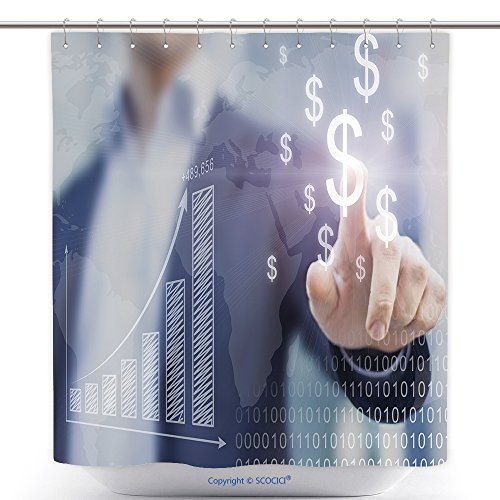 vanfan-Durable Shower Curtains Businessman Presenting Financial Analysis With Charts Generated By Big Data Displaying Polyester Bathroom Shower Curtain Set With Hooks(72 x 96 inches)