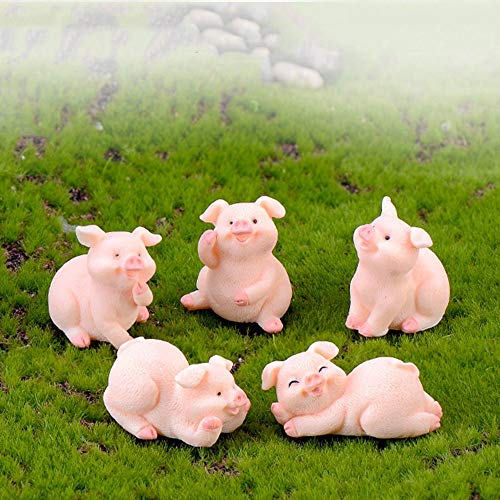NUOMI Set of 5 Miniature Pigs Figurines Resin Craft Cute Pink Pigs Decor Cartoon Animal for Fairy Garden, Dollhouse Miniatures, Cake Toppers, Micro Landscape, Toys Gift for Kids]()