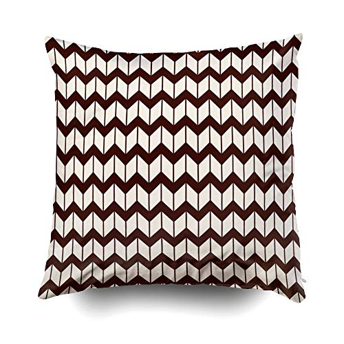 GROOTEY BedPillows, Square Pillow Covers with Zip Couch Sofa Décor Surface Pattern Herringbone Motif Repeated Chevrons Wallpaper Zigzag Lines Jagged Triangular 18X18 Throw Cushion
