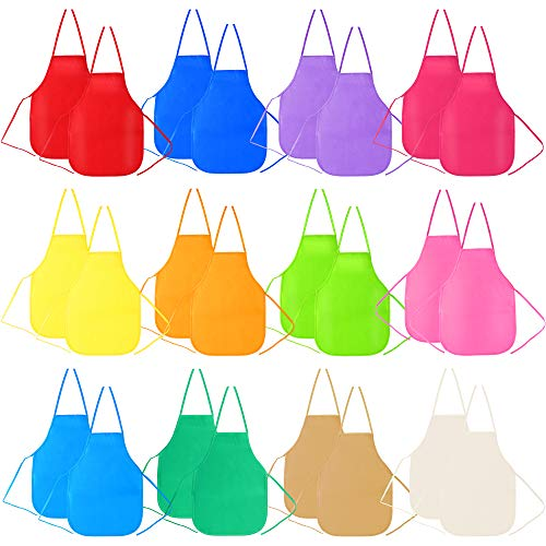 Caydo 24 Pieces Middle Size Fabric Aprons for 5-10 Years Kids, Kitchen, Classroom, Community Event, Crafts & Art Painting Activity