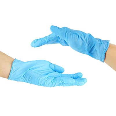 Nitrile Exam Gloves,100 Pcs Disposable Comfortable Protective Gloves - Safety, Powder Free, Latex Free (One Size, Blue): Clothing