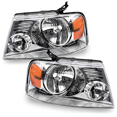 For 2004-2008 Ford F150 Headlights, 2006-2008 Lincoln Mark LT OEDRO Chrome Housing Amber Side Headlamp/light Set Clear Lens,2-Yr Warranty