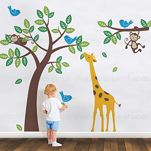 Tree with Monkeys Giraffe and Birds Wall Decals - scheme A - by Simple Shapes by Simple Shapes