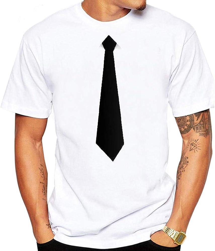 Camiseta de Verano para Hombre con Corbata Interesante, Cuello Redondo, Manga Corta - Negro - 3X-Large: Amazon.es: Ropa y accesorios