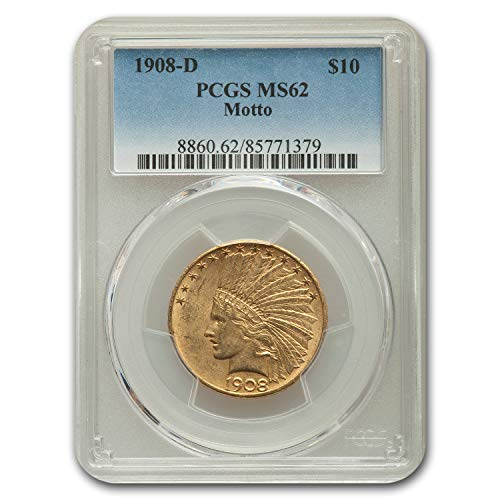 1908 D $10 Indian Gold Eagle MS-62 PCGS G$10 MS-62 PCGS