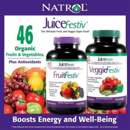 Natrol JuiceFestiv, 240 Capsules (120 FruitFestiv Capsules and 120 VeggieFestiv Capsules - made with organic fruits and vegetables) (Vegetable Fruit Supplement)