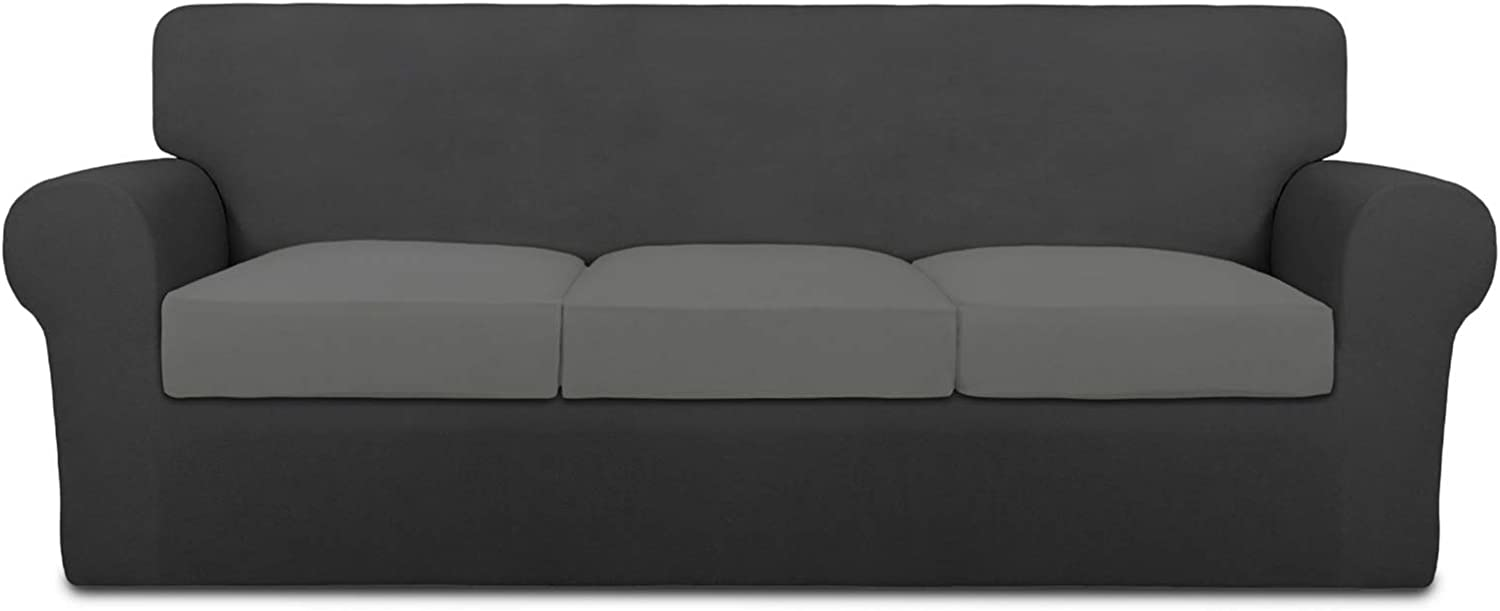 PureFit Mix & Match 4 Pieces Super Stretch Chair Couch Cover for 3 Cushion Slipcover – Spandex Non Slip Soft Sofa Cover for Kids, Pets, Washable Furniture Protector (Sofa, Dark Gray/Light Gray)