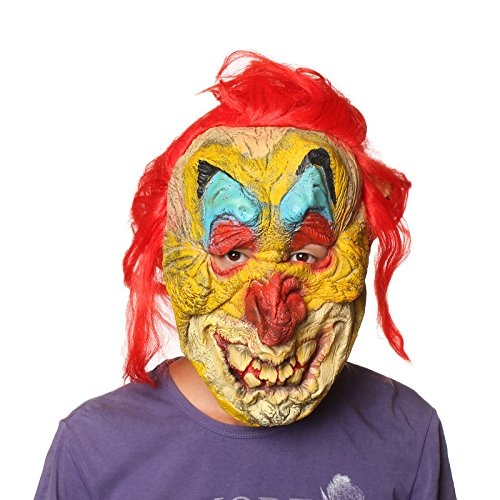[2015 - Hot New Old Freaky Clown Twisty Colorful Face Trick Mask Terrible Red Hair Halloween Costume Party Latex] (Twisty The Clown Costume Mask)