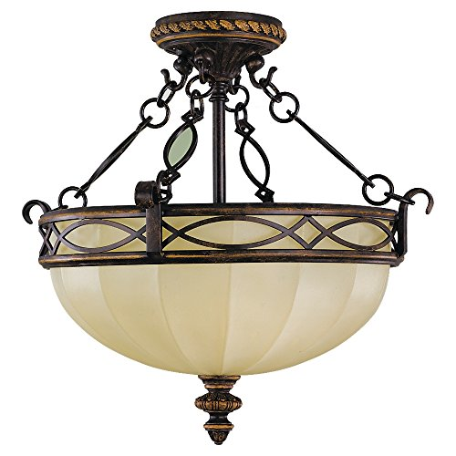 Sea Gull Lighting SF220WAL Drawing Room Three Light Semi-Flush Mount, (15.5