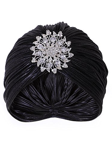 VIJIV Women's Vintage Lurex Knit Turban Beanie Hats Headwraps for 1920s Cocktail Party Black]()
