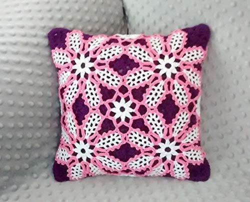 Amazon Crocheted Decorative Pillowcase Floral Crochet Pillow